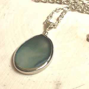 BOUTIQUE* Teal Semiprecious Stone Charm Necklace